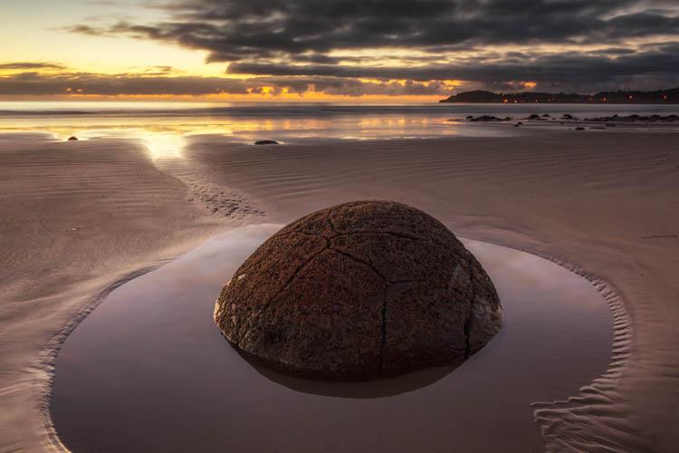 Moeraki Boulders in a Sand Pond