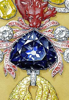 Hope Diamond set in Golden Fleece