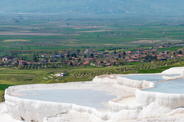 The Pools of Pamukkale overlooking the Countryside