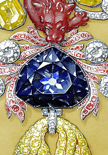 Hope Diamond set in Golden Fleece